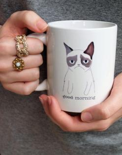 Grumpy Cat coffee mug. I NEED this!: Cats, Cup, Grumpycat, Coffee, Grumpy Cat Mug, Good Morning, Mornings, Mugs