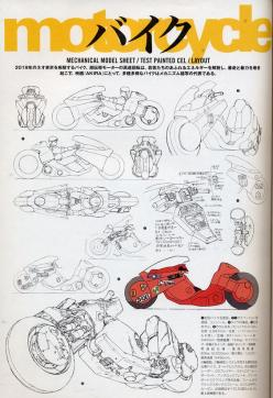 'Twin ceramic rotor drives on each wheel! And these look like computer controlled anti-lock brakes! Wow, 200 horses at 12,000 rpm!': Character Design References, Akira Model, Akira Bike, Akira Character, Bike Akira, Akira Motorcycle, Akira Motorbi