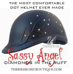 DIAMONDS IN THE RUFF - With 40 Swarovski® crystals embedded in the steampunk side panels, this gorgeous new creation is the latest by designer Marix Stone. We debuted it at Sturgis this year, and had a waiting list of 50 people for its arrival. Let the su