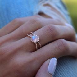 14kt gold and diamond Double Band Moonstone Hex ring – Luna Skye by Samantha Conn: Double Band, Unique Engagement Ring, Opal Engagement Ring, Moonstone Ring, Moonstone Engagement Ring