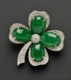 Art Deco Platinum, Jadeite, and Diamond Shamrock Brooch - A must have for March 17th!