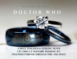 """Blue Doctor Who his and her wedding rings in blue tungsten with matching laser engraved Gallifreyan: """"Together forever through time and space"""" #geek #love"""