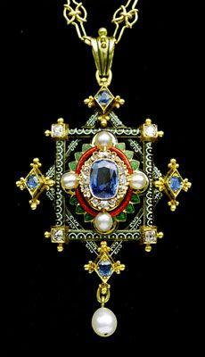 Fine Holbeinesque Pendant  Gold, enamel, sapphire, diamond & pearl. HIGH VICTORIAN  Length: 7.2cm  Width: 4.1cm  English. Circa 1870  In the manner of Robert Phillips  Fitted case