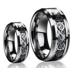 His & Her's 8MM Dragon Design Tungsten Carbide Wedding Band Ring Set