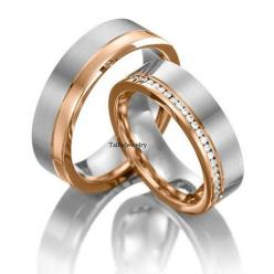 His & Hers Mens Womens Matching 18K White and Rose Gold Two Tone Gold Wedding Bands Rings Set  7mm/6.5mm Wide Sizes 4-12  Free Engraving New on Etsy, $2,100.00