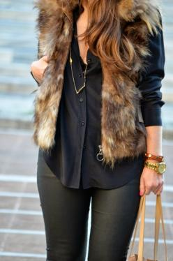 I love my new vest...my look!!!: Style, Black Leather, Faux Fur Vests, Fall Outfit, Leather Leggings, Fall Winter, Furry Vest, Black Blouse