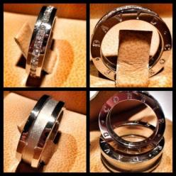 Matching his and hers wedding bands in platinum, personalzied with the names of the couple.