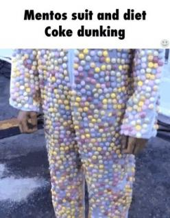 Mentos suit and diet coke dunking