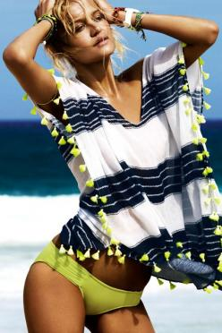 Preview Seafolly's 2013 collection - Rebecca Szulc looking every bit a beach goddess in the Seafolly Cable Kaftan! #Seafolly #Seafolly2013 #SeafollyPreview