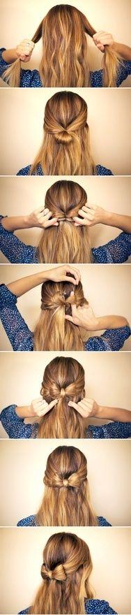 The Mini-Bow: We've seen the bow-bun before, but I think a huge hair bow would be a little too much for class. For this look, you can let your hair dry naturally and do its own thing, whether that's curly, straight, or wavy. Then just pull pack the front