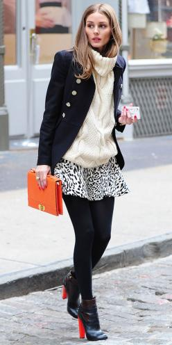 click to shop Olivia Palermo's look! (Club Monaco turtleneck + Zara skirt)