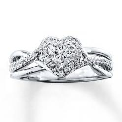 Diamond Engagement Ring 3/4 ct tw Heart-Shaped 14K White Gold