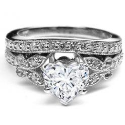 Engagement Ring - Heart Shape Diamond Butterfly Vintage Engagement Ring & Matching Wedding Band 0.37 tcw. In White Gold - ES334HSBSWG
