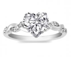Engagement Ring - Heart Shape Diamond Petite twisted pave band Engagement Ring  - ES873HSWG