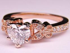Heart Shape Diamond Butterfly Vintage Engagement Ring   In Pink Gold