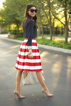 LOVE the shoes, skirt and whole red,white & blue look!!!!!!      La Dolce Vita