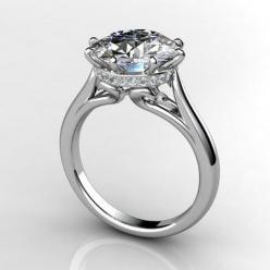 round engagement ring with pave-encrusted basket