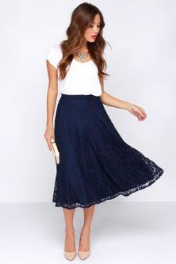 The timeless midi cut, and gorgeous lace design of the Lace in My Heart Navy Blue Lace Midi Skirt will always find its way into your ensemble! From the banded high waist down, this stunning floral lace skirt takes shape; falling into a glamorous midi-leng