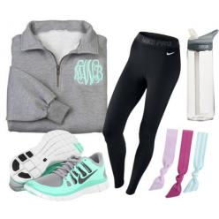 """Sporty prep."" by southern-tide on Polyvore grey monogram half-zip black Nike running leggings teal sneakers: Sporty Outfit, Workout Outfit, Monogram Outfit, Running Outfit, Roshe Outfit, Nike Outfit, Athletic Outfit, Preppy Outfit, Black Nike"