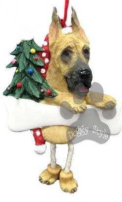 Dangling Leg Great Dane Dog Christmas Ornament http://doggystylegifts.com/products/dangling-leg-great-dane-dog-christmas-ornament