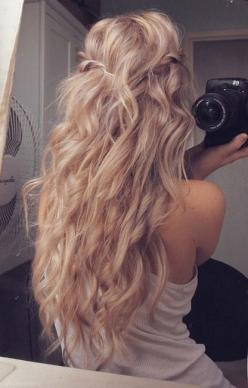 I need to french braid my girls hair they sleep on it..take it out to get it wavy like this..then do this style..pretty!!