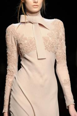 Nude coloured dress with tone on tone embroidery; textured fashion details // Ermanno Scervino