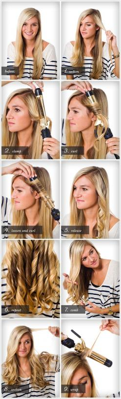 The perfect curl -- a must see video with heat styling advice, how to wrap the curl and what products to use!   Twist Me Pretty: How To Curl, Curling Hair Tutorial, Curling Wand Tutorial, Hair Wand Curl, Hair Curling Tutorial, Curling Wand Hairstyle