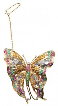18 Kt. Butterfly Brooch with Diamonds, Sapphires, Rubies, and Emeralds: two Old European-cut, four round full-cut, faceted diamonds, total diamond weight 1.52 cts., with double-pin back.