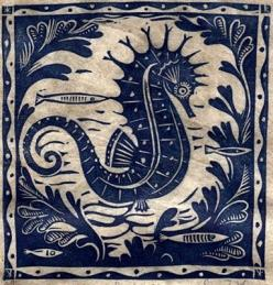 Sarah Young is the creator of this beautiful seahorse .. .which is ispiring me when creating my new bathroom ... after seeing them alive in Barcelona Aquarium just three days ago: Sea Horses, Fish Print, Block Prints, Blue, Seahorses, Sarah Young, Art, Li
