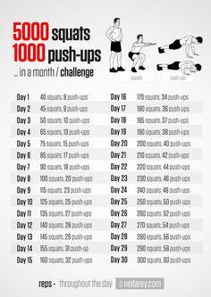 5000 squats and 1000 push ups 30-day challenge...Maybe Ill do this one after I finish the 30 day squat challenge. Make sure to check out our fitness tips, nutrition info and more at www.getyourfittog... #exercise #fitness #workout