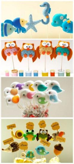 Animalitos de fieltro - Felt animals (use the circut for template and to make tags and toppers): Stuffed Animals, Animales Tela, Animal Topper, Animales De Fieltro, Animales De Tela, Fun Animal, Animales Fieltro, Felt Owl, Felt Animals