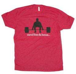 "CrossFit Themed Weightlifting ""Started From The Bottom"" workout tee - NEW on Etsy, $24.99: Crossfit Clothes, Powerlifting Shirts, Crossfit Themed, Bodybuilding Pin, Weightlifting, Crossfit Life, Crossfit Started, Crossfit Gear, Workout"