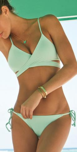 L Space 2014 Sweet and Chic Pistachio Wrap Bikini: Bathing Suits, Style, Color, Bikinis, Swimsuits, Swimwear, Bathingsuits