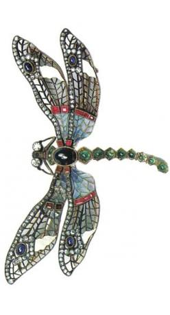 """Brooch """"Mermaids"""". Moscow, around 1900. Gold, silver, diamonds, emeralds, rubies, sapphires and window enamel."""