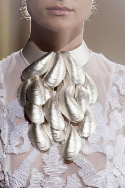 Cascading Mussels Necklace - beautifully textured sea-inspired collar; sculptural statement jewellery // Oscar Carvallo