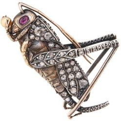 Gem Set Pearl Silver Yellow Gold Grass Hopper Brooch circa 1910. Circa 1910 Silver and Yellow Gold 2 sided Grass Hopper Brooch, extremely well detailed and set with Old Mine Cut and Rose cut Diamonds, Ruby Eyes and Holding a natural Pearl. Measuring 2 inc