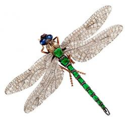 I have to pick my jaw up off the floor.  LOVE this and it is for sale. Rare French Diamond Emerald Dragonfly Pin Attributed to Fouquet   From a unique collection of vintage brooches at http://www.1stdibs.com/jewelry/brooches/brooches/