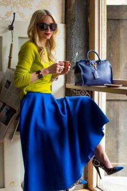 Reach for a yellow crew-neck sweater and a blue pleated maxi skirt for a glam and trendy getup.: Pleated Maxi Skirt, Royal Blue Outfit, Color Combos, Fashion Style, Bright Color, Cobalt Blue, Blue Maxi Skirt, Color Combination