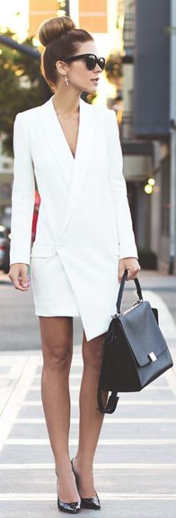 Spring / Summer - street chic style - party style - office wear - work outfit - business casual -white long sleeve blazer dress + black sunglasses + black handbag + black patent leather stilettos: Fashion, White Blazers, Street Style, Dresses, White Dress