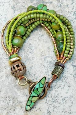 This is gorgeous.  Natural Green Turquoise, Gold and Vintage Bronze
