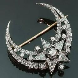 Victorian crescent moon and star brooch with old miners and rose cut diamonds c. 1870