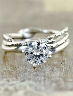 Well This is probobly my absolute dream ring. I might be in Love! The band that is so unusual is beautiful!!: Dream, Wedding Ideas, Wedding Band, Jewelry, Wedding Rings, Engagement Rings
