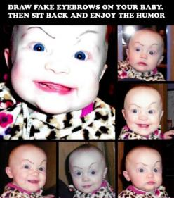 12 Reasons Why You Should Never Leave Your Kids Alone with Their Dads! 4 - https://www.facebook.com/different.solutions.page: Babies, Giggle, Funny Stuff, Funnies, Eyebrows, Fake Eyebrow, Kid