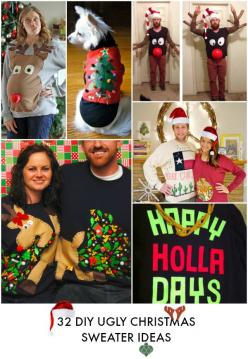 32 DIY Ugly Christmas sweaters for everyone! Pregnant peeps, babies, couples, and even ugly sweaters for dogs! AWESOME LIST!: Couple Christmas Sweater, Diy Tacky Christmas Sweater, Couple Ugly Christmas Sweater, Christmas Ugly Sweater, Ugly Christmas Swea