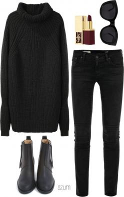 All black casual for autumn/winter (just with a less dramatic lip colour for me personally...): Black Ankle Boot, Minimal Outfit, Winter Outfit, Minimalist Outfit, Fall Winter, Everyday Outfit, All Black Outfit