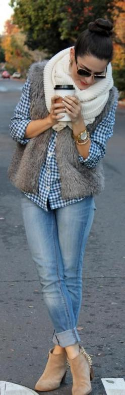 Casual Look; Light Skinnies, Knit Infinity Scarf, Gingham, Faux Fur Vest, Gold Accessories NEED THESE BOOTS: Style, Infinity Scarf, Fur Vests, Fall Outfits, Chill Pill, Fall Fashion, Faux Fur Vest, Fall Winter
