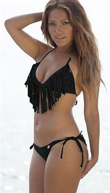 Chynna Dolls Fringe Triangle Top Bikini in Black