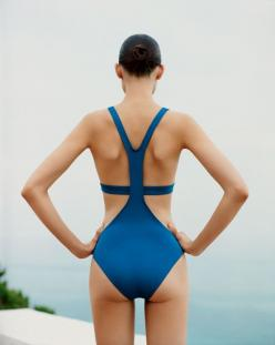Hermès - Vestiaire d'Eté 2013  SWIMSUIT Blue silk two-piece bathing suit. Photo : Alasdair McLellan. #hermes #fashion: Bathing Suits, Swim Wear, Fashion, Hermes, Style, Swimwear, Swimsuits, One Piece