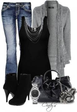 Love the sweater.  Don't like the jeans.  I would probably swap the heels for flats.: Fashion, Idea, Casual Outfit, Black Tank, Style, Black Grey, Fall Outfit, Fall Winter