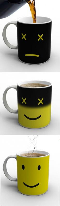Monday morning is hard to swallow. Whet your appetite with the Monday Mug, a playful porcelain coffee cup that actually perks up as you do.  $24.00: Idea, Monday Morning Coffee, Smiley, Coffee Cups, Coffee Mugs, Monday Coffee